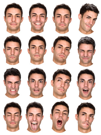 happy faces: short hair brunette caucasian man collection set of face expression like happy, sad, angry, surprise, yawn isolated on white