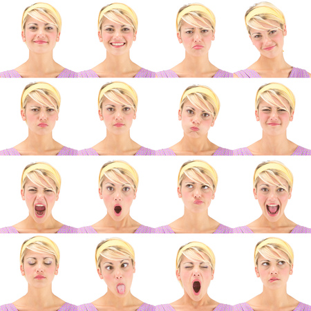 blonde vintage hawaii 70s young caucasian woman collection set of face expression like happy, sad, angry, surprise, yawn isolated on white 版權商用圖片