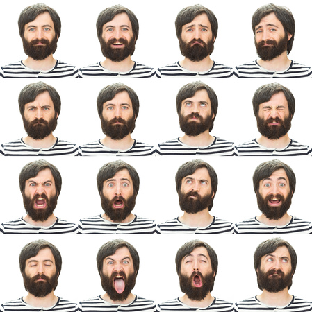 brunette long hair and beard young casual caucasian man collection set of face expression like happy, sad, angry, surprise, yawn isolated on white