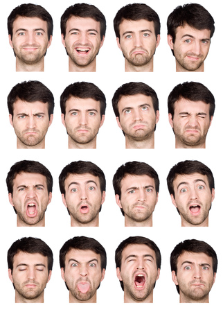 short hair brunette adult caucasian man collection set of face expression like happy, sad, angry, surprise, yawn isolated on white
