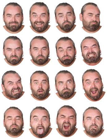 表情の白人男コレクション セット幸せ、悲しい、怒っているような驚き、あくびの分離白灰色の髪とひげ脂肪