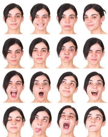 黒髪表情の大人の白人女性コレクション セット幸せ、悲しい、怒っているような驚き、あくびの分離ホワイト