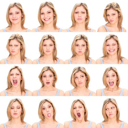 caras: pelo largo rubio joven caucásico conjunto de la colección de mujer casual de expresión cara como feliz, triste, enojado, sorpresa, bostezar aislado en blanco