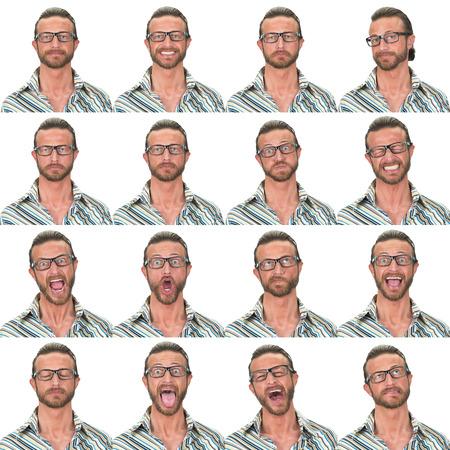 eyes green: ojos verdes con la colecci�n de gafas de hombre cauc�sico adulto conjunto de expresi�n de la cara como feliz, triste, enojado, sorpresa, bostezar aislados en blanco Foto de archivo