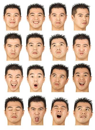 黒髪表情の若いアジア男コレクション セット幸せ、悲しい、怒っているような驚き、あくびの分離ホワイト