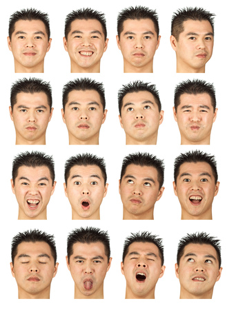 black hair young asian man collection set of face expression like happy, sad, angry, surprise, yawn isolated on white