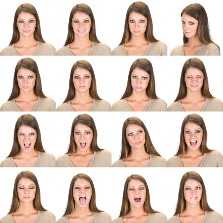 fun woman: long and straight hair brunette young caucasian woman collection set of face expression like happy, sad, angry, surprise, yawn isolated on white Stock Photo