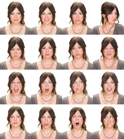 persona triste: el pelo largo Morena adultos colecci�n elegante de la mujer cauc�sica ocasional conjunto de la expresi�n de la cara como feliz, triste, enojado, sorpresa, bostezar aislado en blanco Foto de archivo