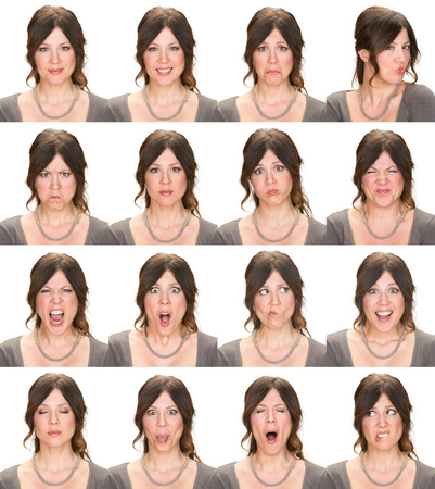 angry people: long hair brunette adult casual elegant caucasian woman collection set of face expression like happy, sad, angry, surprise, yawn isolated on white Stock Photo