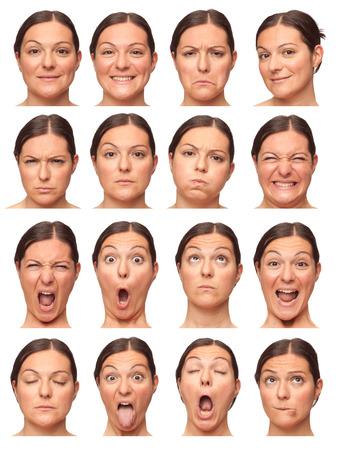 表情の大人の白人女性コレクション セット幸せ、悲しい、怒っているような驚き、あくびの分離白ブルネット ショートヘア