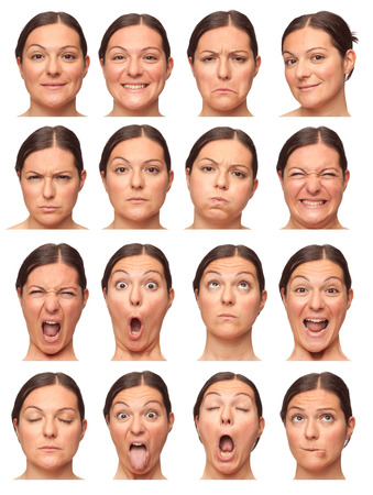 brunette short hair adult caucasian woman collection set of face expression like happy, sad, angry, surprise, yawn isolated on white Banco de Imagens