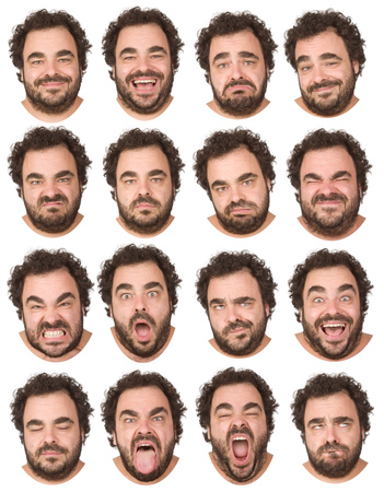 short curly hair and beard brunette adult caucasian man collection set of face expression like happy, sad, angry, surprise, yawn isolated on white Stockfoto