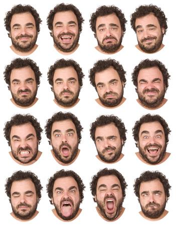 pelo corto y rizado y barba del hombre caucásico colección Morena adulta conjunto de la expresión de la cara como feliz, triste, enojado, sorpresa, bostezar aislados en blanco Foto de archivo