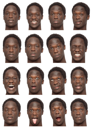 young man short hair: black brunette short curly hair young african man collection set of face expression like happy, sad, angry, surprise, yawn isolated on white Stock Photo