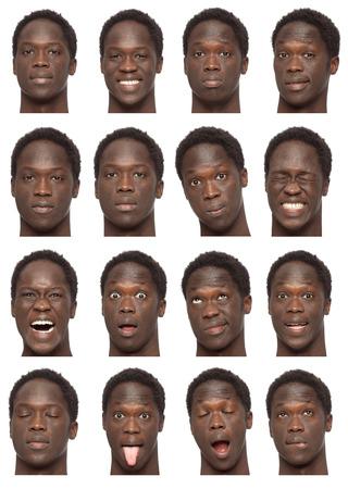visage homme: cheveux boucl�s collection jeune homme africain court brunette ensemble de l'expression du visage comme heureux, triste, en col�re, surprise, b�illement isol� sur blanc