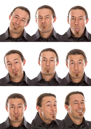 goatee: goatee short hair adult caucasian man collection set of face expression like happy, sad, angry, surprise, yawn isolated on white
