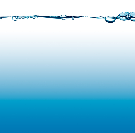 liquid level: waterline with splash and bubbles with blue and white background