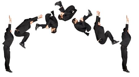 somersault: businessman somersault isolated on white
