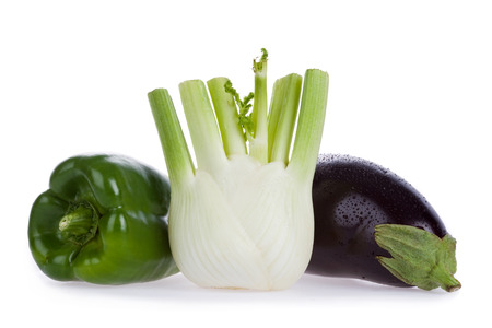 healty: ripe healty green pepper fennel eggplant isolated on white Stock Photo