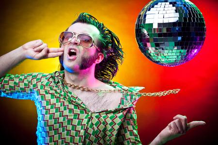 dancing club: dancing funny vintage man have fun at club