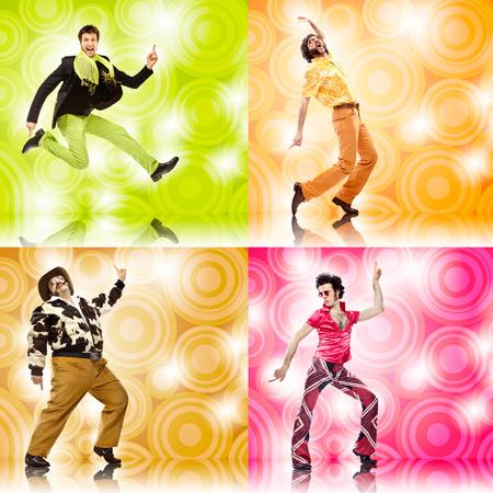 gente loca: cuatro composición de la danza hombre divertido conjunto de cosecha en el fondo de color