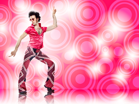 1970s vintage man dance with pink background Archivio Fotografico