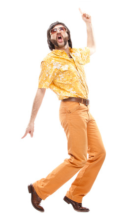 1970s vintage man with orange dress dance isolated on white