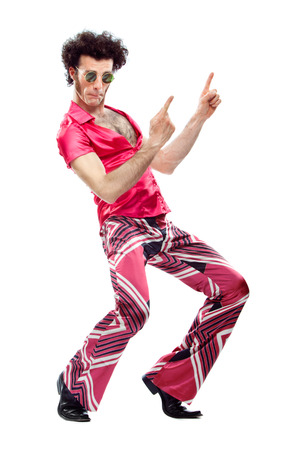 1970s vintage man with pink dress dance isolated on white Banco de Imagens