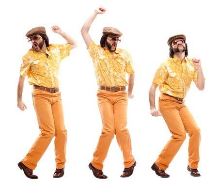 1970s vintage man with orange dress dance composition set isolated on white Banco de Imagens