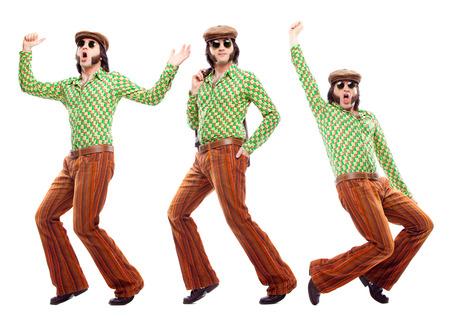 緑のドレスのダンスの構成セット白で隔離と 1970 年代ビンテージ男