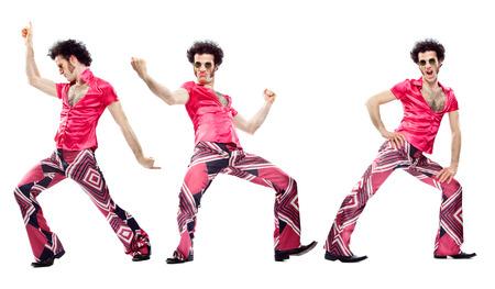 ピンクのドレスのダンスの構成セット白で隔離と 1970 年代ビンテージ男