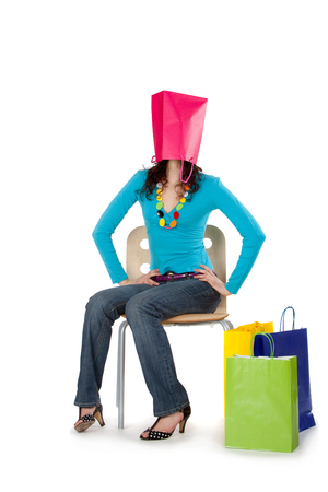 colorful young beautiful busy girl shopping sale life style isolated Banco de Imagens