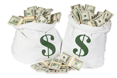 money packs: hundred dollar money in two packs isolated on white
