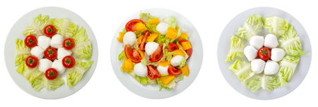 healty: healty salad with mozzarella composition set isolated on white