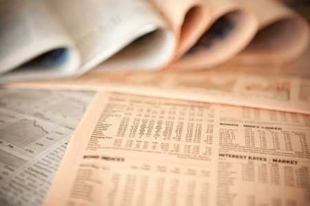 sell shares: business financial newspaper forecast detail background