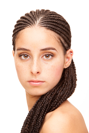 dread: Beautiful dread young woman portrait isolated on white Stock Photo