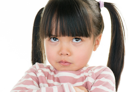 pigtail: asian angry little girl with pigtail isolated on white