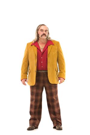 もみあげ髭と長い髪を白で隔離面白いヴィンテージ 70 人