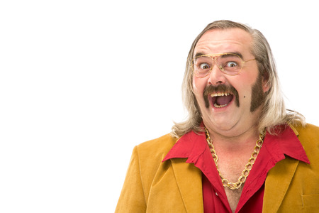 70s: funny vintage 70s man with sideburn mustache and long hair portrait isolated on white