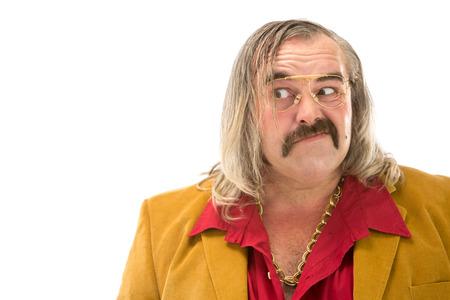 もみあげ口ひげと白で隔離髪縦長い面白いヴィンテージ 70 人