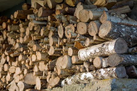 stack of firewood: Firewood stack outdoor Stock Photo