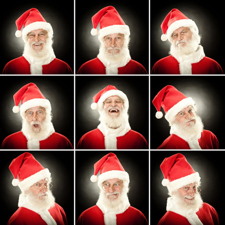 suprise: old santa claus collection set of face expression like happy, sad, angry, suprise, yawn on black background