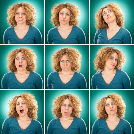 the yawn: curly blond hair adult caucasian woman square collection set of face expression like happy, sad, angry, surprise, yawn on blue