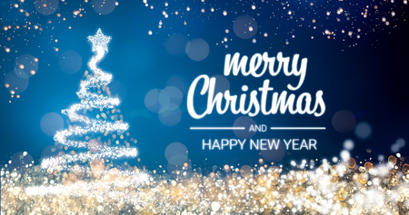 Modern future christmas tree and merry christmas and happy new sparkling gold and silver lights xmas tree merry christmas and happy new year greeting message on blue backgroundsnow flakesbright lights decoration m4hsunfo