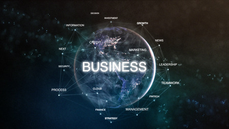 Technology earth from space word set with business in focus. Futuristic financial oriented words cloud 3D illustration. Success keywords concept