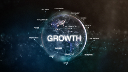 Technology earth from space word set with growth in focus. Futuristic financial oriented words cloud 3D illustration. Success keywords concept Stockfoto - 96311226