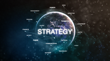 Technology earth from space word set with strategy in focus. Futuristic financial oriented words cloud 3D illustration. Success keywords concept Stockfoto