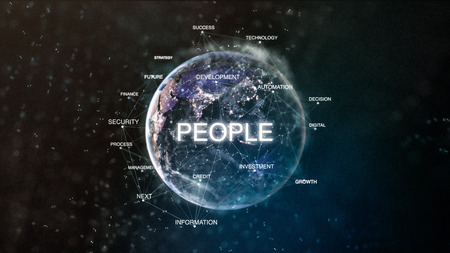Technology earth from space word set with people in focus. Futuristic financial oriented words cloud 3D illustration. Success keywords concept Stockfoto