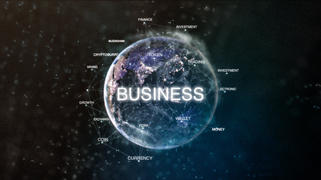 Technology earth from space word set with business in focus. Futuristic bitcoin cryptocurrency oriented words cloud 3D illustration. Crypto e-business keywords concept 写真素材