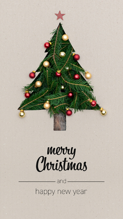 Merry Christmas and happy new year greetings in vertical top view cardboard with natural eco decorated christmas tree pine.Xmas winter holiday season portrait social media card background Imagens - 117209554